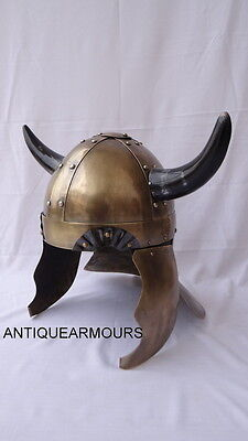MEDIEVAL VIKING HORNS HELMET BRASS FINISH MOVIE VINTAGE HELMET