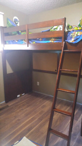 Twin loft bed, solid wood w/cherry finish
