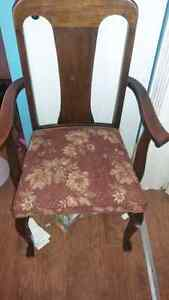 Set of 6 solid oak claw foot chairs