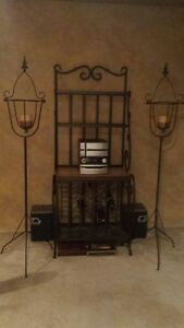 Rod Iron Bakers//Wine rack & 2 Rod Iron Candle stands $400 OBO