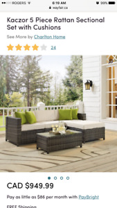 NEW 5 Piece Rattan Sectional Set with Cushions