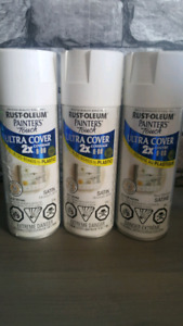 3 Rust-Oleum White Spray Paint Cans