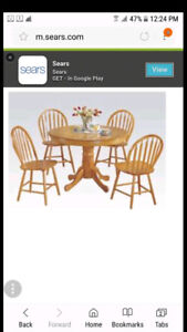 Beautiful solid oak pedestal table with 4 chairs