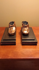 "Vtg. Bronze Baby Shoes Inscribed w/""Bobby"""