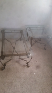 Elegant beveled glass wrought-iron tables