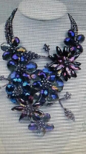 purple shining faced crystal flower statement necklace
