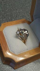 DIAMOND & EMERALD CUSTOM MADE FROG RING
