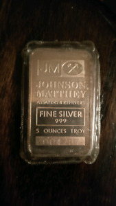 Johnson Matthey 5oz Td Bank Silver Bar