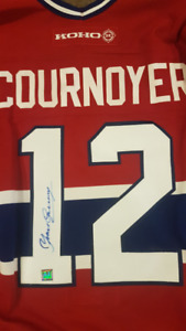 Yvan Cournoyer Autographed Jersey (with Fight Strap)