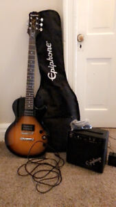 Les Paul epiphone electric guitar with case and amp