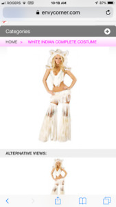 BRAND NEW Sexy 7pc White Native Indian Costume size Xs-s