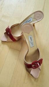 Jimmy Choo Light Pink Kitten Heel Mule with Red Buckle - size 8