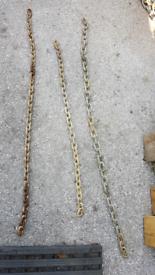 Chain three bits 1.4M & 1.25M & 1M long 10mm Galvanised
