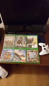 6 Xbox One Games and White Xbox One Controller
