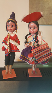 Vtg 50s South American hand painted faces dolls