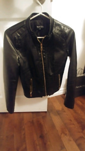 Black faux Leather Jacket with gold details