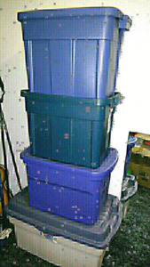 4 large lidded storage bins $35 takes all 4!!