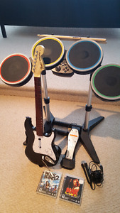 PS3 Rock Band 2 w/ drums, guitar, mic &  games!