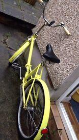 Yellow folding bike