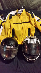 motorcycle helmets and jacket