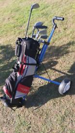 Junior childs golf set, clubs, caddy