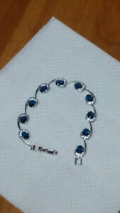 High quality bracelet, plated 18K white gold, lady color crystal