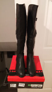 BRAND NEW RIALTO BLACK OVER THE KNEE WIDE CALF BOOTS SZ 9.5
