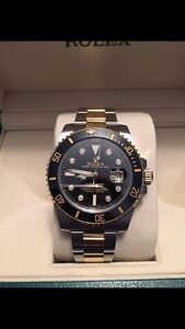 Rolex submariner date two tone factory diamond dial