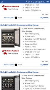 Brand new miele 24 bottle wine fridge/cooler