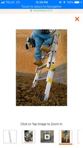 24 ft ladder with equalizer, 32 ft ladder and 6 ft step ladder