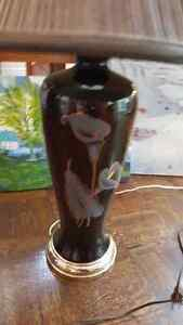 """Large vintage black glass lamp with flower ornament 28"""" tall West Island Greater Montréal image 2"""