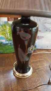 "Large vintage black glass lamp with flower ornament 28"" tall West Island Greater Montréal image 2"