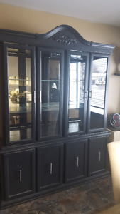 Solid oak hutch, black with modern stainless handles