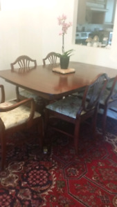 Reduced $,A set of dining table+6chairs with chest and hutch
