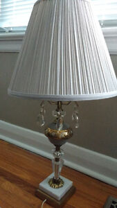 Unique Antique Lamp with Crystal Ornaments and Marble Base