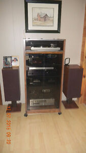 vintage Stereo cabinet, Yamaha AV receiver and sound stage sub