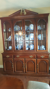 Strathroy Canadian made all wood dining room buffet & breakfront