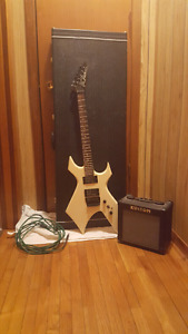 B.C. rich warlock with amp and case