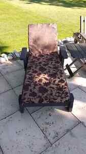 Wooden rolling  lawn chairs  with new cushions