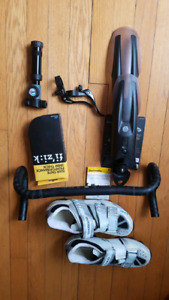 Cycling - shoes, mud guard, pump, tape, drop bar, panniers