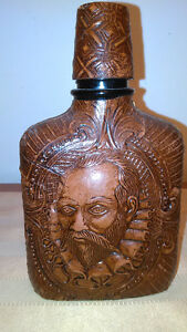 Vintage Leather Bound Liquor Bottle With William Shakespere Face