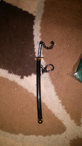 "Mini 7"" samuri sword key chain"