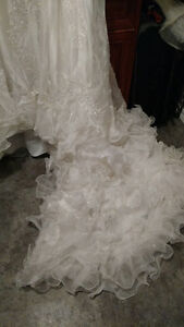 Designer White Valeciene Gown Organza Beading & Beaded Headpiece