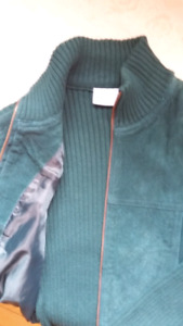 Suede and knit sweater / jacket