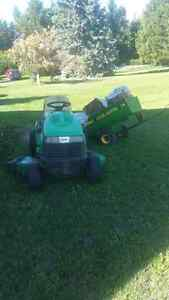 1998 John Deer Sabre Lawn tractor and cart