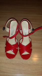 Red Wedge Shoes $15