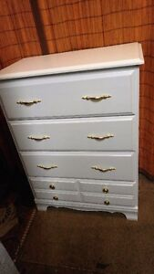 beautiful 4 draw dresser just paintd white and new golden handle