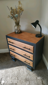 Vintage refurbished small wood chest of drawers