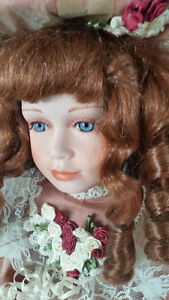 2 old collectible porcelain dolls