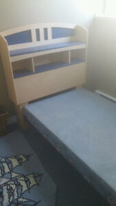 Single bed headboard with book shelf & boxspring for sale
